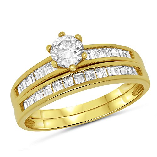 14k Gold Round Solitaire with Channel Set Baguette Side Stones Engagement Ring with Matching Channel Set Band Bridal Set - Channel Set Baguette Side Stones