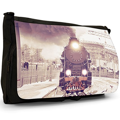 School Laptop Vintage Canvas Train Trains Shoulder Steam Bag Black Messenger Large U1ZHw16Sq0