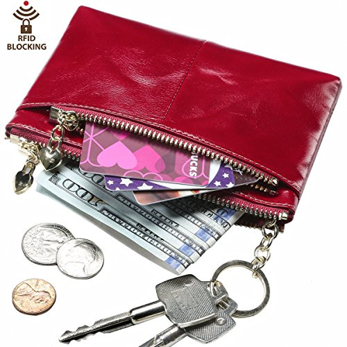 Itslife Triple Zipper Leather Mini Coin Purse Card Holder with Key Chain(red)