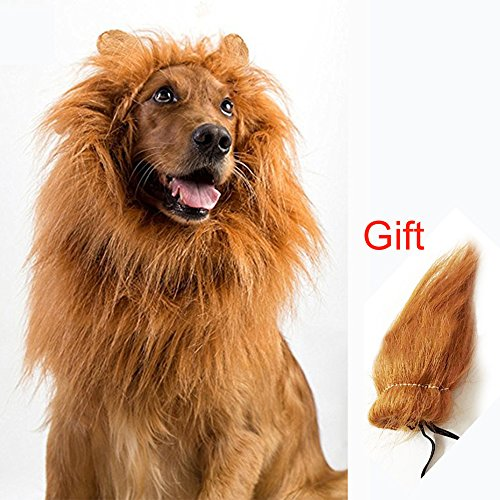 (YISONG Dog Lion Mane with Extra Tail-Large Dog Costume Halloween Cosplay Hair Accessories for Pets Party Supplies(L: 24