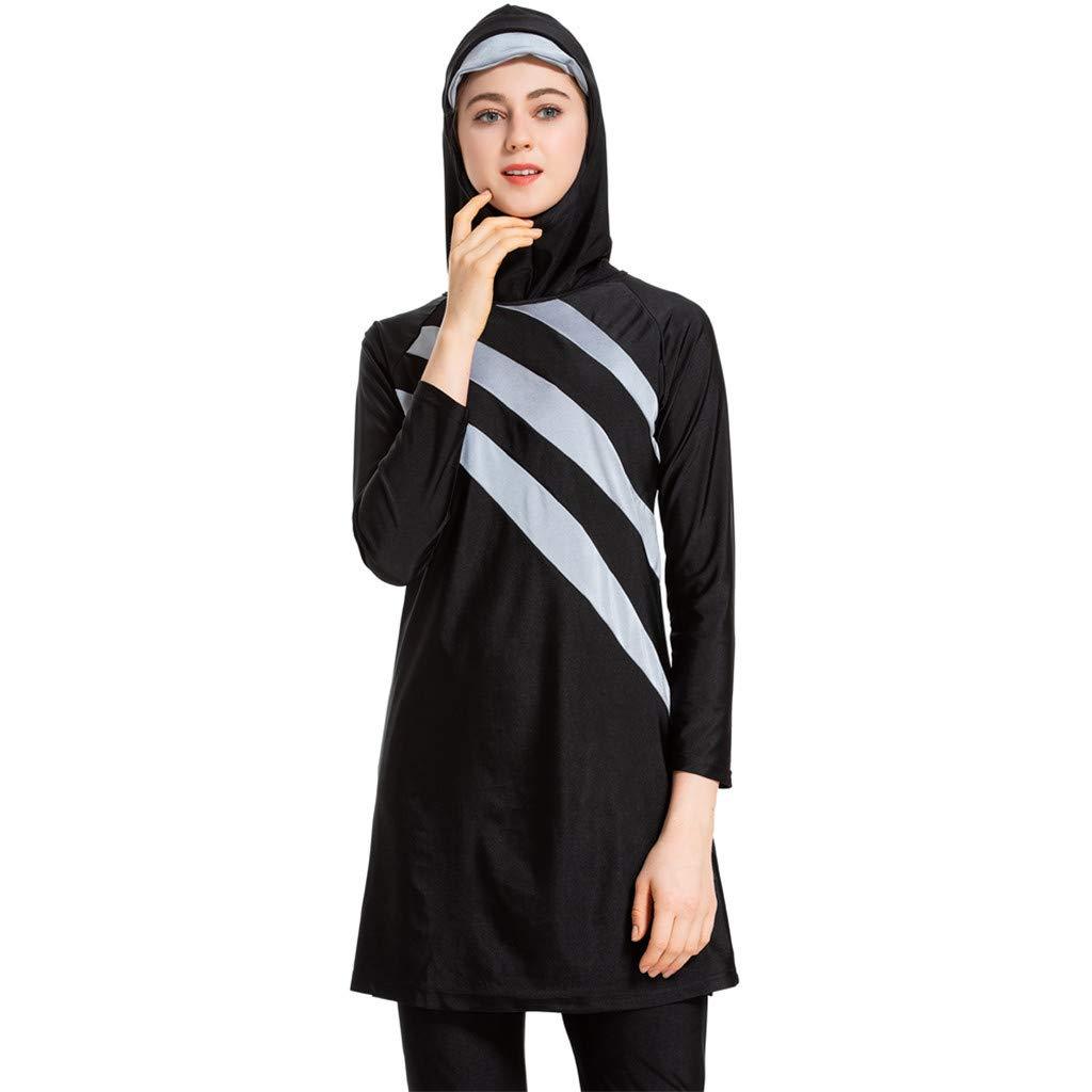 Siswong Womens Beachwear Muslim Swimming Costume Two Piece Long Sleeve Jumpsuit Swimsuits with Cap Trunks Hat Burkini Women Bathing Suit Swimsuit Hijab Modest Swimwear Islamic Ladies