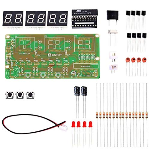 WHDTS C51 6-Digit DIY Digital Electronic Clock Kit AT89C2051 Chip Alarm Clock Kit Soldering Practice Learning Kits -