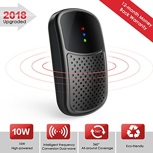 Ultrasonic Pest Repeller Mosquito Repellent - 2018 Upgraded High Power Frequency Conversion All Round Coverage Plug in Electronic Pest Control for Bugs, Rodents, Cockroaches, Mice, Rats, Spiders (10W)