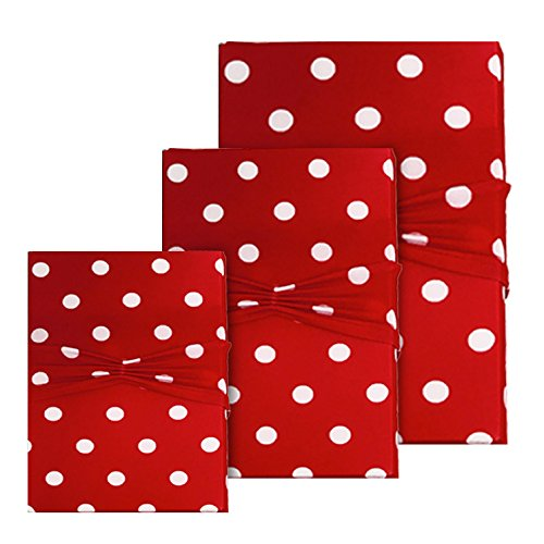 Gift Wrap Cherry Red Polka Dot - Reusable Stretchy Fabric & Eco Friendly- Set of 3 (1 Sm/ 1 Med/ 1 Lg) - Wrapping for Birthdays and Special Occasions - Use as Gift Bags Too!