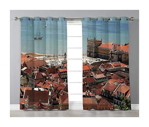 Goods247 Blackout Curtains,Grommets Panels Printed Curtains for Living Room (Set of 2 Panels,42 by 63 Inch Length),Cityscape ()