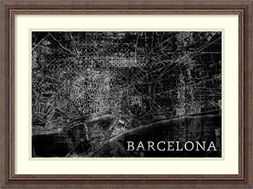 Framed Wall Art Print | Home Wall Decor Art Prints | Map Barcelona Black by PI Studio | Country Rustic Decor