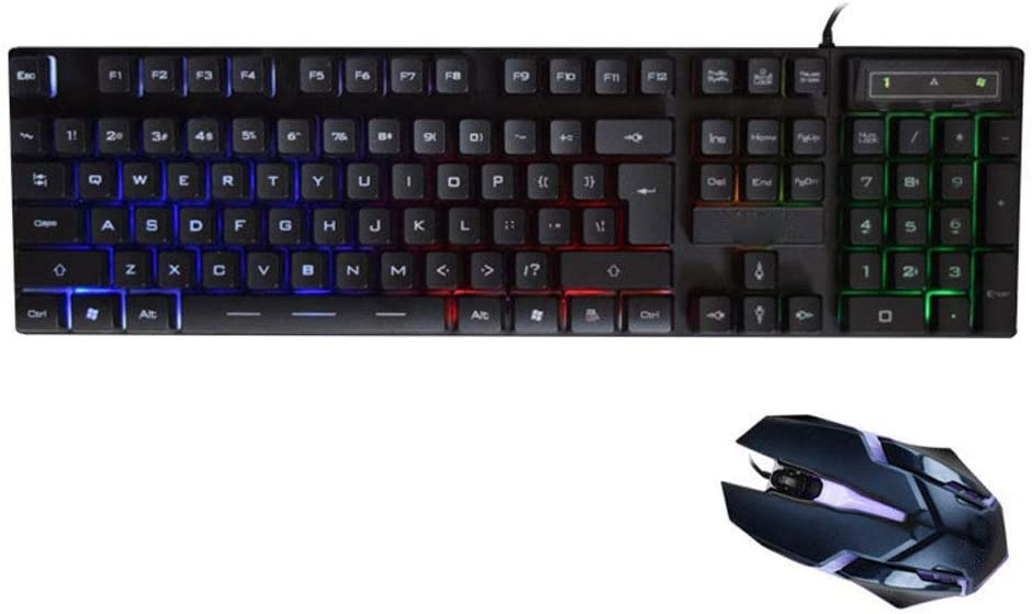 IRVING Keyboard and Mouse Set Internet Cafe Game Home Computer Wired Light Mouse and Keyboard Set USB Interface