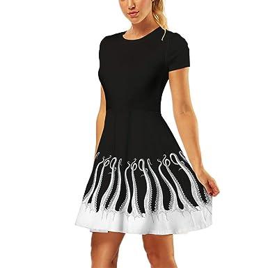 Falda Plisada Estampada Sasstaids Vestido Casual Vintage Vestido ...