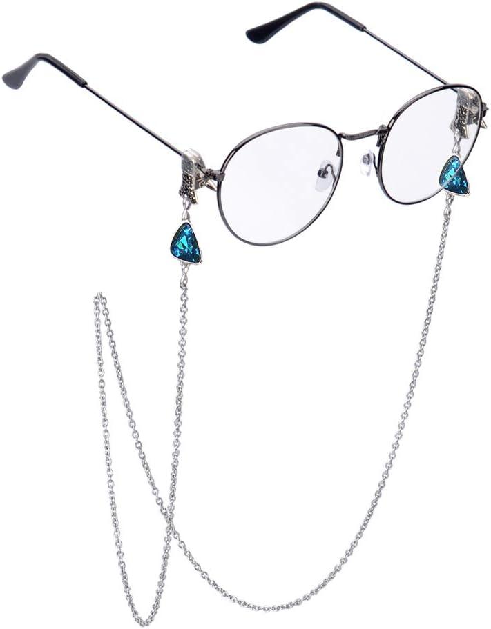 Stainless Steel Chain Eyeglass Strap Clip Crystal Glasses Lanyard Holder-Lake Blue
