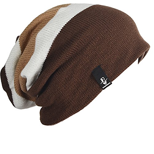 - FORBUSITE Mens Slouchy Long Oversized Beanie Knit Cap for Summer Winter B08 (Brown/Khaki)