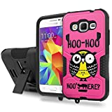 Galaxy [CORE Prime] Tough Case [SlickCandy] [Black/Black] Hybrid Combat [Kick Stand] [Shock Proof] - [Hoo is There Owl] for Samsung [CORE] Prime / [Prevail LTE 2015 Version]