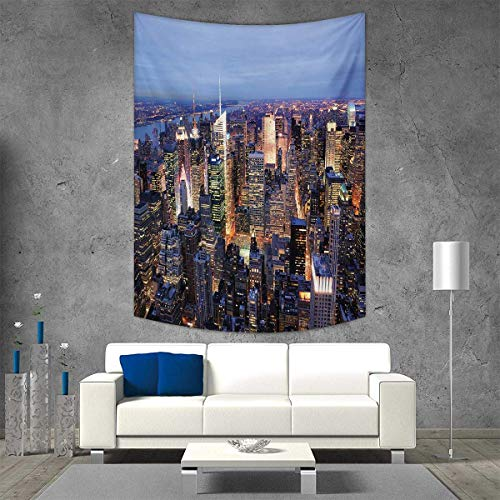 smallbeefly York Tapestry Table Cover Bedspread Beach Towel Aerial View NYC Full Skyscrapers Manhattan Times Square Famous Cityscape Panorama Dorm Decor Beach Blanket 51W x 60L INCH Blue