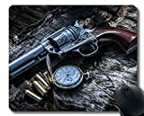 Your own Customized Mousepad,Pocket Watch revolver pistol still life Rubber Base Mouse Pads