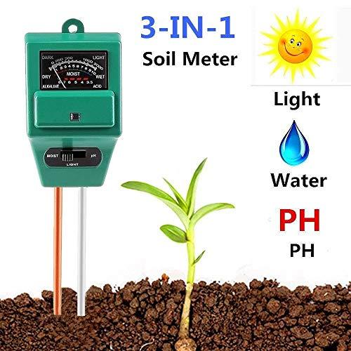 (Soil Meter, 3-in-1 Soil Test Kit for Moisture, Light & pH/Acidity, Gardening Tool for Garden, Lawn, Farm, Plants, Indoor & Outdoor Plant Care Soil Tester (No Battery Need & 2019 Update))