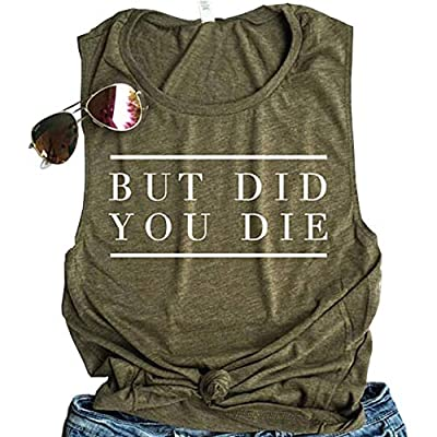 ALLTB But Did You Die Muscle Tank Tops Womens Funny Letter Print Sleeveless Workout Yoga Shirt Tops