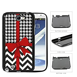 Red Ribbon With Houndstooth And Chevron Pattern Hard Plastic Snap On Cell Phone Case Samsung Galaxy Note 2 II N7100