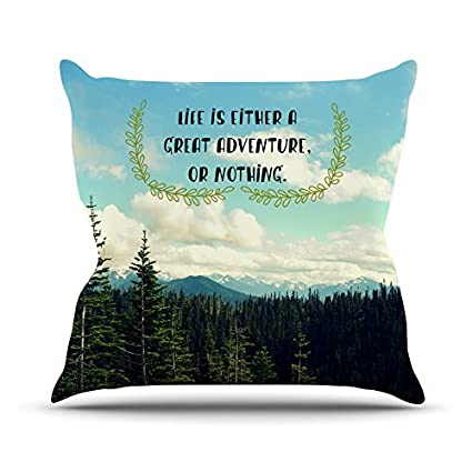 Landscape Typography Kess InHouse Robin Dickinson Life is 20 by 20 Throw Pillow