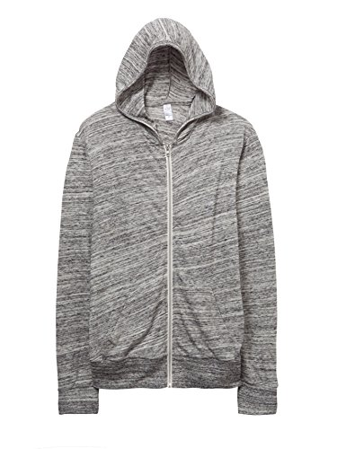 Alternative 01970E1 50% Polyester 38% Cotton 12% Rayon Mens Full Zip Hoodie Large Urban Grey