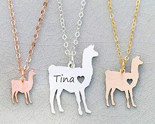 Llama Necklace - IBD - Farm Animal - Personalized Pet Alpaca Engraved Name - Pendant Size Options - 935 Sterling Silver 14K Rose Gold Filled