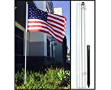 10ft White Steel Outdoor Flag Pole KIT Ground Spike Shock Absorber USA Flag
