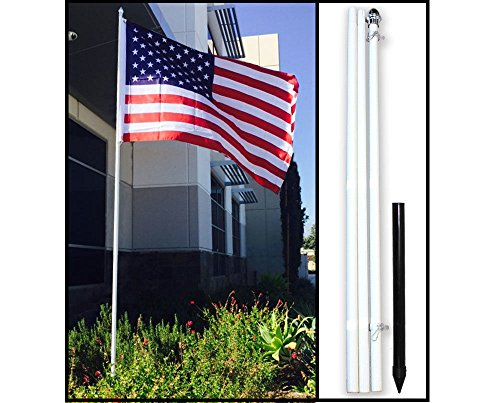 10ft White Steel Outdoor Flag Pole KIT Ground Spike Shock Absorber USA Flag For Sale