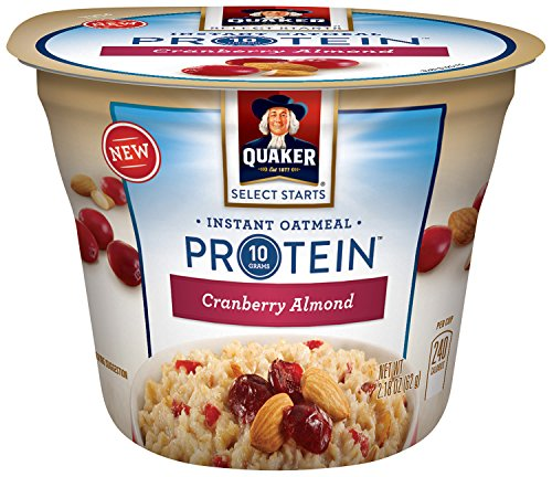 Quaker Instant Oatmeal Express Cups, Select Starts with Protein, Cranberry Almond, Individual Cups (Pack of 12)