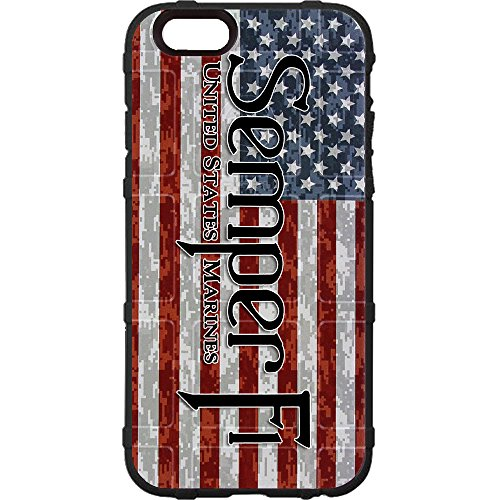 (EGO Tactical Limited Edition Design UV-Printed onto a MAG849 Field Case Compatible with Apple iPhone 7 + Plus, 8 + Plus, 7+, 8+ U.S. Marine Corps Semper Fi on US Camo Flag)