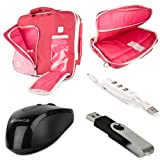 VanGoddy Pindar Messenger Bag for HP EliteBook Folio 1020 G1 12.5 inch Laptops with USB Mouse & 4GB Thumbdrive & 3 Port USB Hub, Pastry Pink