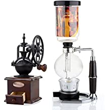 Syphon Coffee Maker Japanese Style Vacuum Glass Siphon Pot Percolators 1-3 Cups Siphon Coffee Maker (Syphon) (Coffee Maker)(Hand-grinding coffee beans machiner)