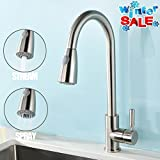 VAPSINT Stainless Steel Single Handle Pull Out Kitchen Sink Faucet, Brushed Nickel Pull Down Kitchen Faucets