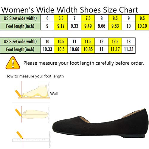 Aukusor Women's Wide Width Ballet Flat - Comfortable Slip On Closed Toe Casual Shoes.(Black 180401, 10.5WW) by Aukusor (Image #1)