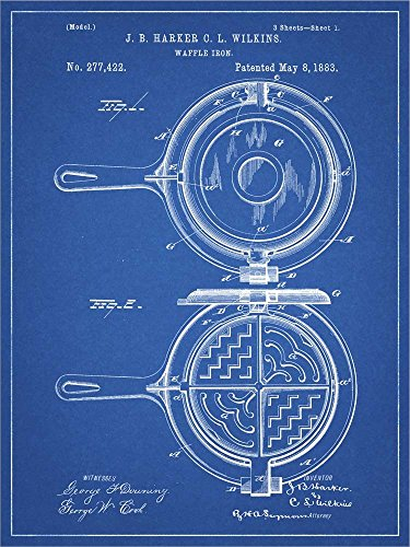 Great Art Now Blueprint Waffle Iron Patent by Cole Borders Laminated Art Print, 9 x 12 inches