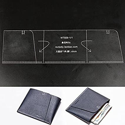 a4b7d54bfc74 WUTA Leather Simple Wallet Cash Holder Pattern Acrylic Template for Wallet  Series WT929