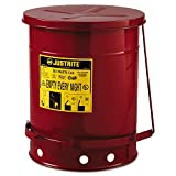 JUSTRITE 09300 Red Oily Waste Can, 10gal, Lever Lid