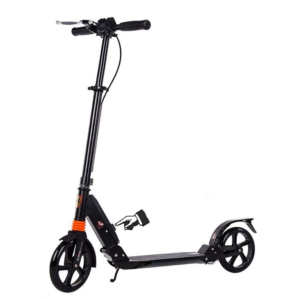 Kick Scooter for Adult Kids Teens - Big Wheels Kick Scooter with Disc Hand Brake, Folding Dual Suspension, Adjustable Height - Supports 330lbs,Black by DGSD