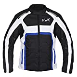 HWK Textile Motorcycle Jacket Motorbike Jacket Biker Riding Jacket Cordura Waterproof CE Armoured Breathable Reissa Membrane - Removable Thermal lining - 1 YEAR WARRANTY!! (Medium, Blue)