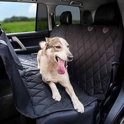 "Luxury Dog Seat Cover Waterproof Pet Seat Cover Dog Hammock 59""x55"" for Any Cars, Trucks, SUVs - Nonslip, Quilted, No Odor, Zipper, Seat Anchors, Durable and Machine Washable by Tapiona Luxury Pet"