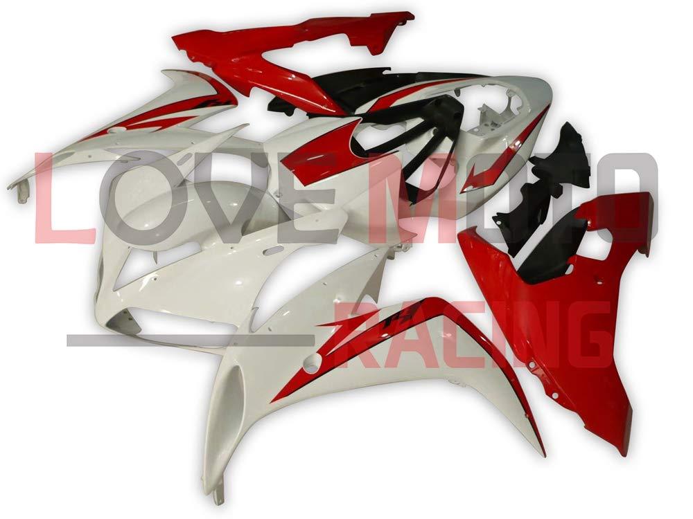 LoveMoto ブルー/イエローフェアリング ヤマハ yamaha YZF-1000 R1 2004 2005 2006 04 05 06 YZF 1000 ABS射出成型プラスチックオートバイフェアリングセットのキット ホワイト レッド   B07KKB4V3L