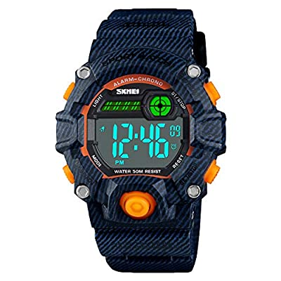 Boys Camouflage LED Sport Watch,Waterproof Digital Electronic Casual Military Wrist Kids Sports Watch with Silicone Band Luminous Alarm Stopwatch Watches from CakCity