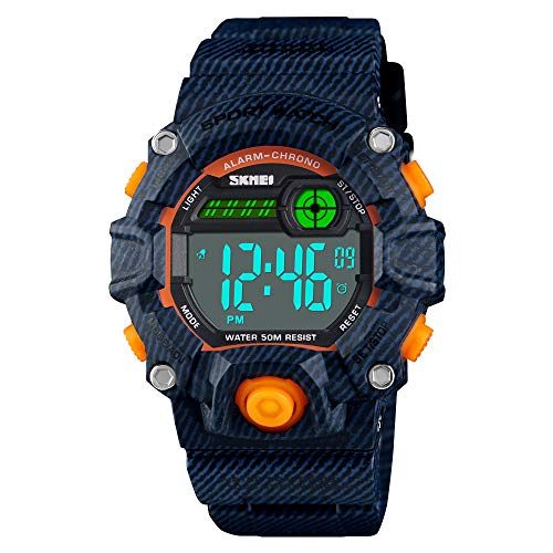 Boys Camouflage LED Sport Watch,Waterproof Digital Electronic Chronograph Military Wrist Kids Sports Watch with Silicone Band Luminous Alarm Stopwatch Watches (Denim Blue Orange Key (5-9 yrs))