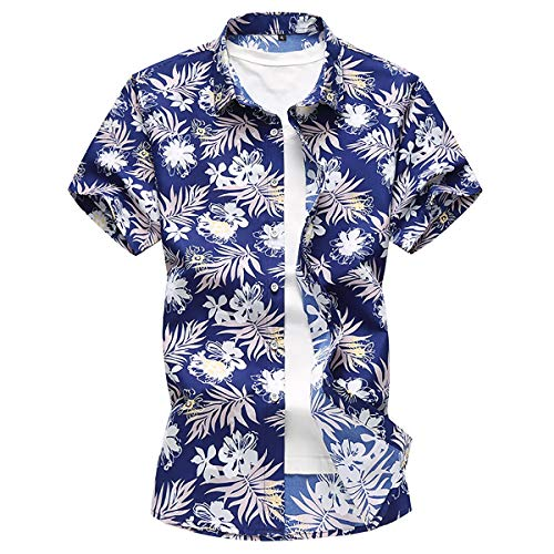 Playa Con Los Estilo Floral Botón Vestir Fit Manga Hombres Camisa Slim Camisas Corta amp;tt De Blue l blue Tamaño W más qS6ZOpwx
