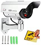 Realistic Looking Dummy Security CCTV Fake Bullet Camera With Flashing LED Light Indication, Silver