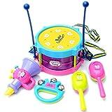 LILICAT Musical instrument set 5pcs Trumpet Rattle Drum Kids Baby Roll Drum Musical Instruments Band Kit Children Toy (Colorful)