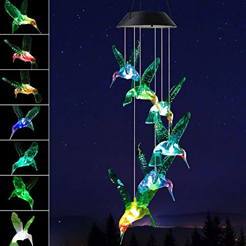Greenke Hummingbird Solar Wind Chimes Waterproof 7 Color Changing Light Windchimes Unique Outdoor Decor Best Birthday Hummingbird Gift for Mom Grandma Women
