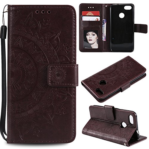 Floral Wallet Case for Huawei P Smart,Strap Flip Case for Huawei P Smart,Leecase Embossed Totem Flower Design Pu Leather Bookstyle Stand Flip Case for Huawei P Smart-Brown by Leecase