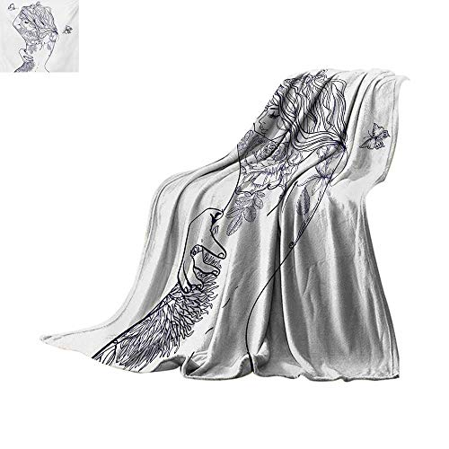 (Girls Weave Pattern Blanket Young Girl with Tattoos and Butterflies Free Your Soul Inspired Long Hair Feminine Summer Quilt Comforter 50