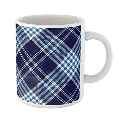 Cobalt Platinum Mug - Semtomn Funny Coffee Mug Nautical Plaid Check Pattern in Dark Navy Cobalt Blue 11 Oz Ceramic Coffee Mugs Tea Cup Best Gift Or Souvenir