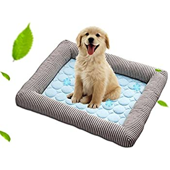 AUOKER Dog Cooling Mat/Bed/Pad, Dog Cooling Cushion for Small to Large Dogs/Cats Keep Cool - Non Toxic, Non Sticking, Skin-Friendly, No Need to Chill, Breathable - Washable Cool Stuff for Pet