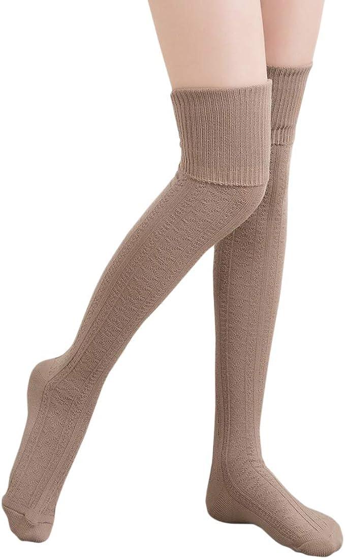 HITOP calcetines hasta la rodilla algodón medias mujer piernas calientes-khaki: Amazon.es: Ropa y accesorios