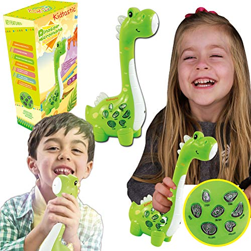 Kidtastic Play Microphone for Kids – Audio, Songs, Facts & Voice Recording – Muscial Instrument for Toddlers & Mp3 Player – Green Wireless Dinosaur Learning Toy for Toddlers 18 Months and up